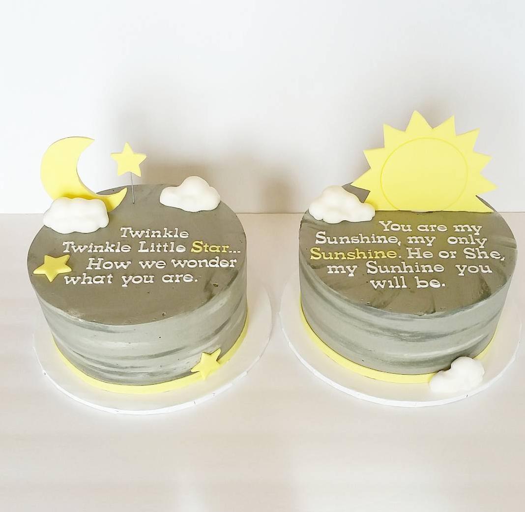Awe Inspiring Twin Gender Reveal Cakes Greenslate Funny Birthday Cards Online Elaedamsfinfo